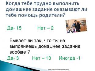 Да- 15 Нет – 2 Бывает ли так, что ты не выполняешь домашнее задание вообще ? Да-