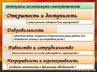 ПРИНЦИПЫ ОРГАНИЗАЦИИ САМОУПРАВЛЕНИЯ Открытость и доступность. (максимальное осве