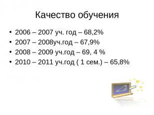 Качество обучения 2006 – 2007 уч. год – 68,2% 2007 – 2008уч.год – 67,9% 2008 – 2