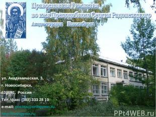 ул. Академическая, 3, г. Новосибирск, 630090, Россия Тел./факс (383) 333 28 10 e