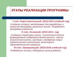 I этап. Подготовительный. (2012-2013 учебный год) Создание условий, необходимых