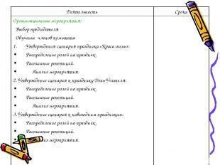 Деятельность Сроки Организационные мероприятия: Выбор председателя Обучение член