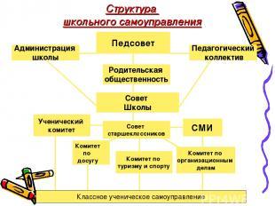 Администрация школы Совет Школы Педсовет Совет старшеклассников СМИ Структура шк