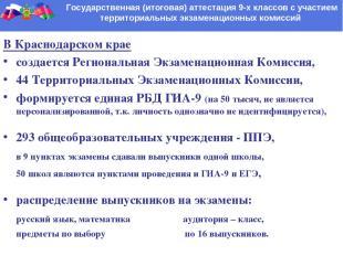 Государственная (итоговая) аттестация 9-х классов с участием территориальных экз