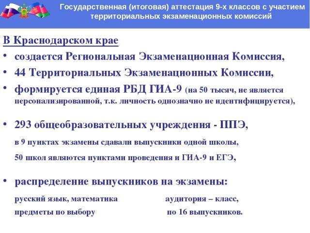 Государственная (итоговая) аттестация 9-х классов с участием территориальных экзаменационных комиссий В Краснодарском крае создается Региональная Экзаменационная Комиссия, 44 Территориальных Экзаменационных Комиссии, формируется единая РБД ГИА-9 (на…