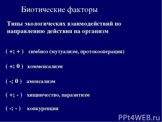 Биотические факторы Типы экологических взаимодействий по направлению действия на организм ( +; + ) симбиоз (мутуализм, протокооперация) ( +; - ) хищничество, паразитизм ( +; 0 ) комменсализм ( -; - ) конкуренция ( -; 0 ) аменсализм