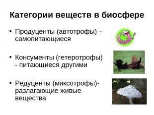 Категории веществ в биосфере Продуценты (автотрофы) – самопитающиеся Консументы