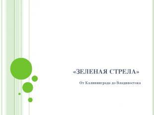 «ЗЕЛЕНАЯ СТРЕЛА» От Калининграда до Владивостока