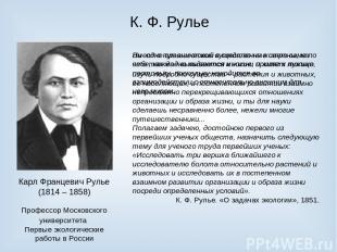 К. Ф. Рулье Карл Францевич Рулье (1814 – 1858) Профессор Московского университет