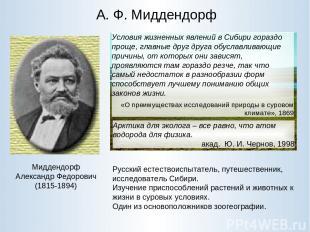 А. Ф. Миддендорф Миддендорф Александр Федорович (1815-1894) Русский естествоиспы