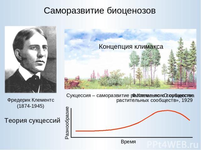 Саморазвитие биоценозов Фредерик Клементс (1874-1945) Теория сукцессий В пределах одного региона результатом последовательных стадий саморазвития растительного сообщества является одна и та же финальная, или климаксовая стадия, начинаются ли они от …