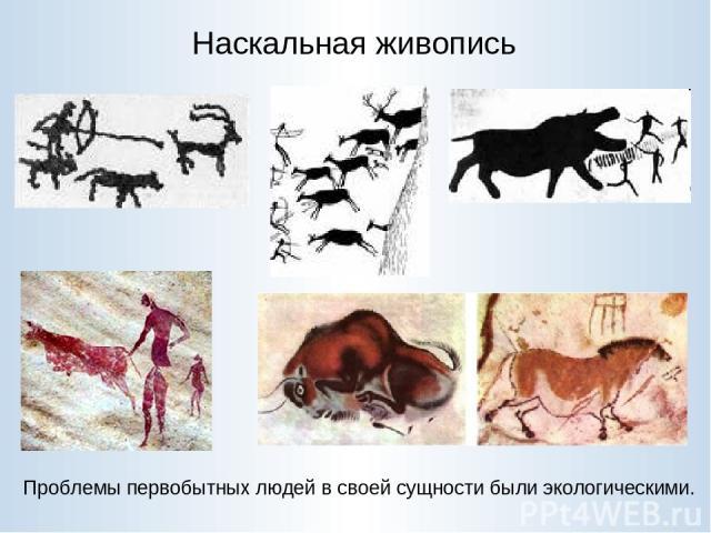 Наскальная живопись Проблемы первобытных людей в своей сущности были экологическими.