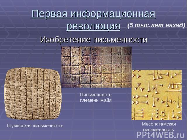 Первая информационная революция Изобретение письменности Шумерская письменность Письменность племени Майя Месопотамская письменность (5 тыс.лет назад)