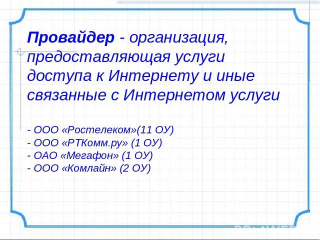 Провайдер- организация, предоставляющая услуги доступа к Интернету и иные связанные с Интернетом услуги - ООО «Ростелеком»(11 ОУ) - ООО «РТКомм.ру» (1 ОУ) - ОАО «Мегафон» (1 ОУ) - ООО «Комлайн» (2 ОУ)