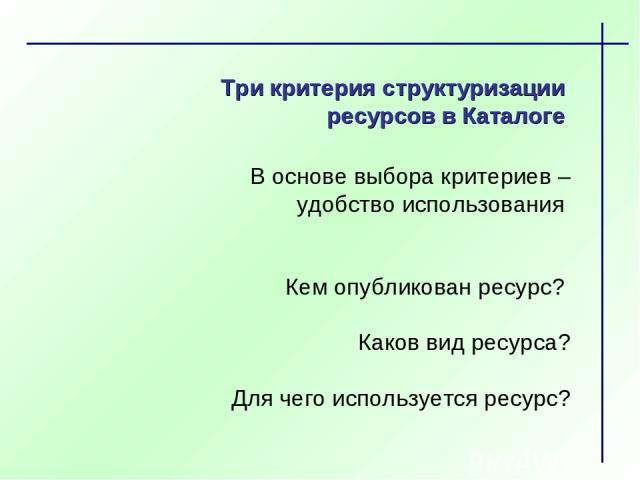 Три критерия структуризации ресурсов в Каталоге В основе выбора критериев – удобство использования Кем опубликован ресурс? Каков вид ресурса? Для чего используется ресурс?