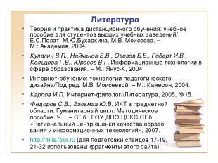 Литература Теория и практика дистанционного обучения: учебное пособие для студен