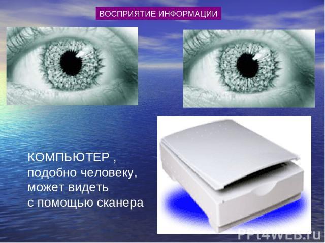 КОМПЬЮТЕР , подобно человеку, может видеть с помощью сканера ВОСПРИЯТИЕ ИНФОРМАЦИИ