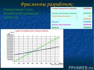 Фрагменты разработок: Условно-переменные затраты 250000000 Условно-постоянные за