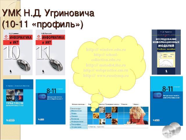 УМК Н.Д. Угриновича (10-11 «профиль») http:// window.edu.ru http:// school-collection.edu.ru http:// metodist.lbz.ru http:// webpractice.cm.ru http:// www.rusolymp.ru