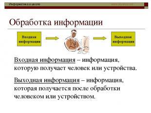 Обработка информации Входная информация – информация, которую получает человек и