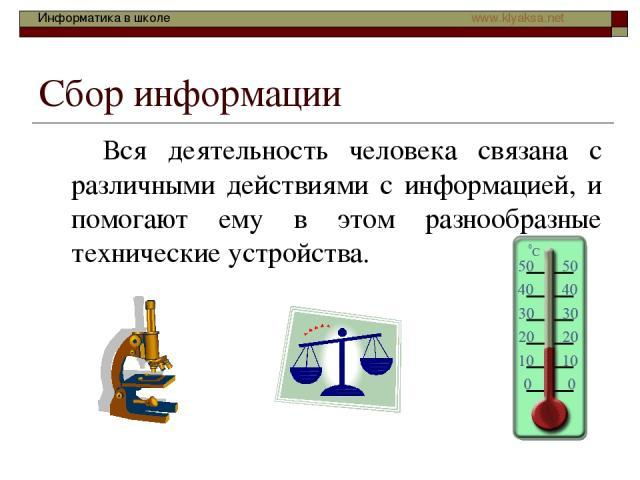 Сбор информации Вся деятельность человека связана с различными действиями с информацией, и помогают ему в этом разнообразные технические устройства. Информатика в школе www.klyaksa.net