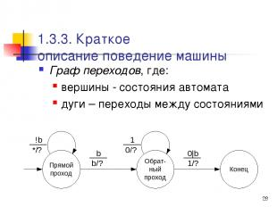 * 1.3.3. Краткое описание поведение машины Граф переходов, где: вершины - состоя