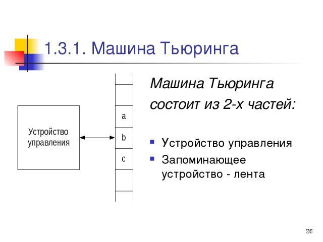 * 1.3.1. Машина Тьюринга Машина Тьюринга состоит из 2-х частей: Устройство управления Запоминающее устройство - лента