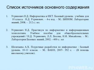 Список источников основного содержания Угринович Н.Д. Информатика и ИКТ. Базовый