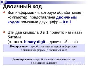 Двоичный код Вся информация, которую обрабатывает компьютер, представлена двоичн