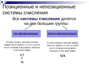 Позиционные и непозиционные системы счисления Все системы счисления делятся на д