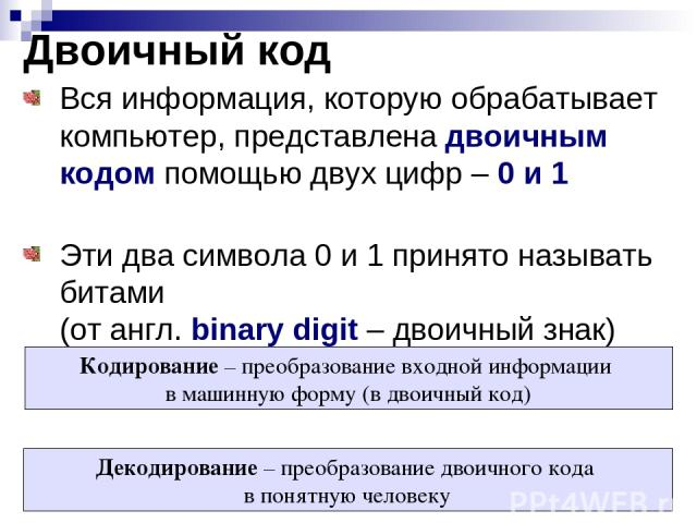 Двоичный код Вся информация, которую обрабатывает компьютер, представлена двоичным кодом помощью двух цифр – 0 и 1 Эти два символа 0 и 1 принято называть битами (от англ. binary digit – двоичный знак) Кодирование – преобразование входной информации …