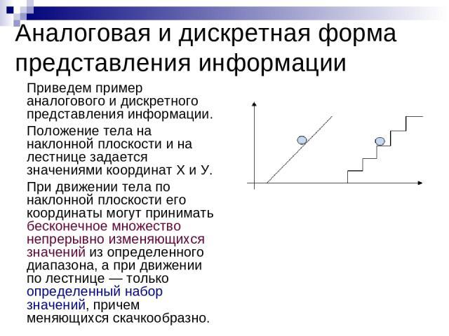 Приведем пример аналогового и дискретного представления информации. Положение тела на наклонной плоскости и на лестнице задается значениями координат X и У. При движении тела по наклонной плоскости его координаты могут принимать бесконечное множеств…