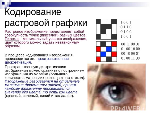 Растровое изображение представляет собой совокупность точек (пикселей) разных цветов. Пиксель - минимальный участок изображения, цвет которого можно задать независимым образом. В процессе кодирования изображения производится его пространственная дис…