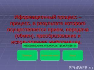 Иформационный процесс – процесс, в результате которого осуществляется прием, пер