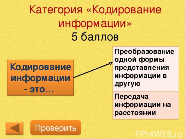 Категория «Кодирование информации» 5 баллов Проверить Преобразование одной формы представления информации в другую Передача информации на расстоянии