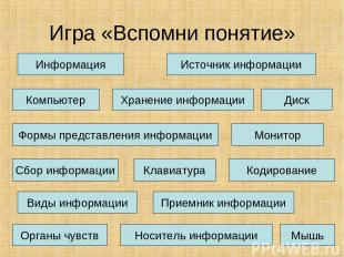 Игра «Вспомни понятие» Информация Хранение информации Источник информации Монито