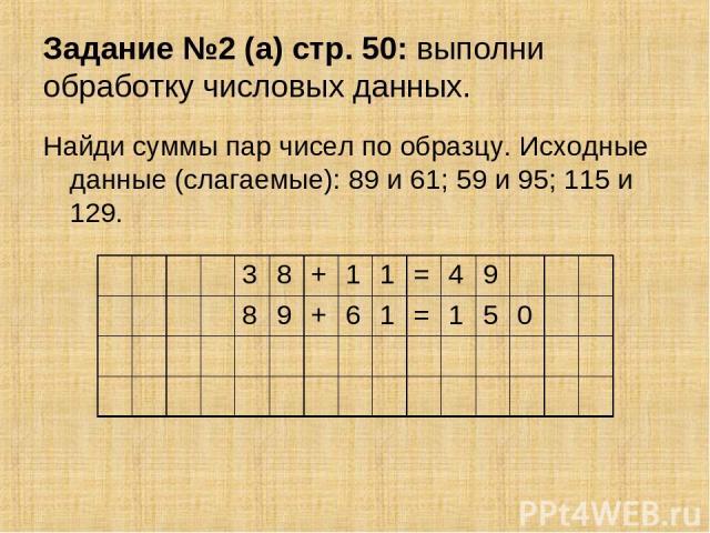 Задание №2 (а) стр. 50: выполни обработку числовых данных. Найди суммы пар чисел по образцу. Исходные данные (слагаемые): 89 и 61; 59 и 95; 115 и 129. 3 8 + 1 1 = 4 9 8 9 + 6 1 = 1 5 0