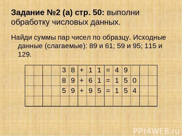 Задание №2 (а) стр. 50: выполни обработку числовых данных. Найди суммы пар чисел по образцу. Исходные данные (слагаемые): 89 и 61; 59 и 95; 115 и 129. 3 8 + 1 1 = 4 9 8 9 + 6 1 = 1 5 0 5 9 + 9 5 = 1 5 4