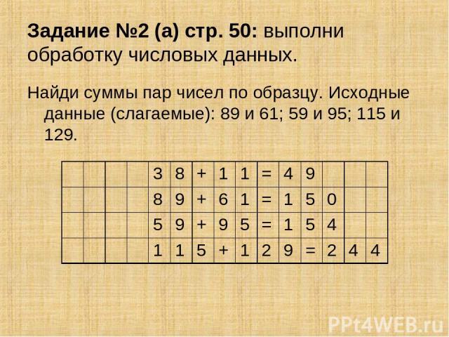 Задание №2 (а) стр. 50: выполни обработку числовых данных. Найди суммы пар чисел по образцу. Исходные данные (слагаемые): 89 и 61; 59 и 95; 115 и 129. 3 8 + 1 1 = 4 9 8 9 + 6 1 = 1 5 0 5 9 + 9 5 = 1 5 4 1 1 5 + 1 2 9 = 2 4 4