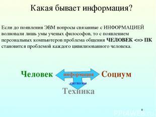 * Какая бывает информация? Если до появления ЭВМ вопросы связанные с ИНФОРМАЦИЕЙ