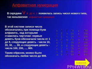 В середине V в. до н. э. появилась запись чисел нового типа, так называемая алфа