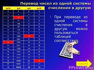 При переводе из одной системы счисления в другую можно пользоваться таблицей соо