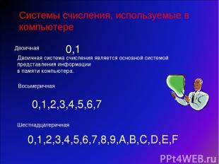 Восьмеричная Системы счисления, используемые в компьютере Двоичная Шестнадцатери