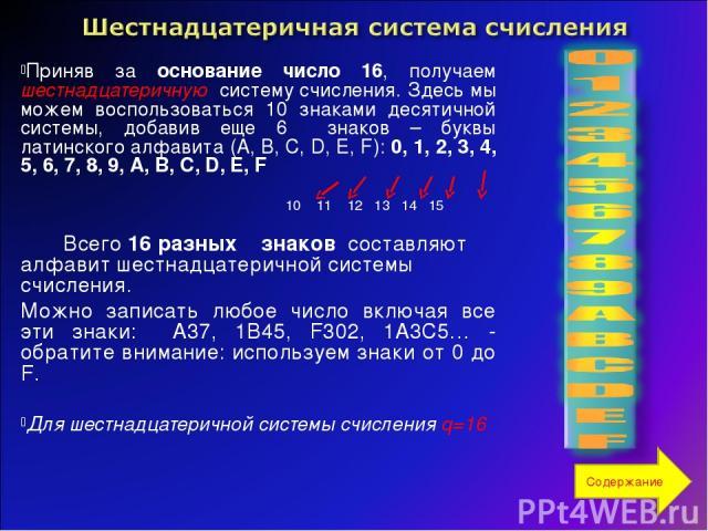 Приняв за основание число 16, получаем шестнадцатеричную систему счисления. Здесь мы можем воспользоваться 10 знаками десятичной системы, добавив еще 6 знаков – буквы латинского алфавита (A, B, C, D, E, F): 0, 1, 2, 3, 4, 5, 6, 7, 8, 9, A, B, C, D, …