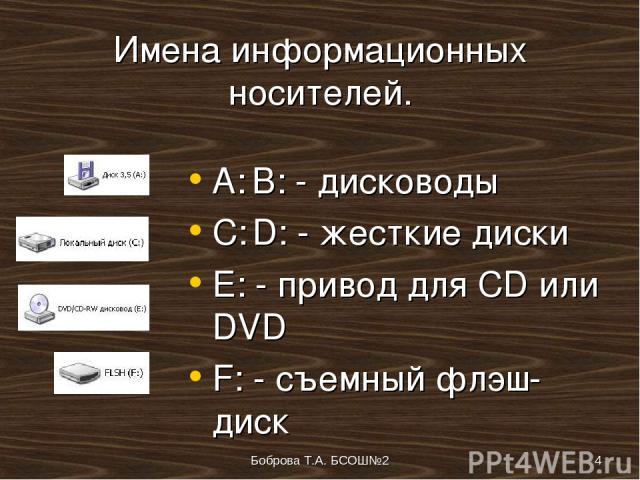 Боброва Т.А. БСОШ№2 * Имена информационных носителей. A: B: - дисководы C: D: - жесткие диски E: - привод для CD или DVD F: - съемный флэш-диск Боброва Т.А. БСОШ№2