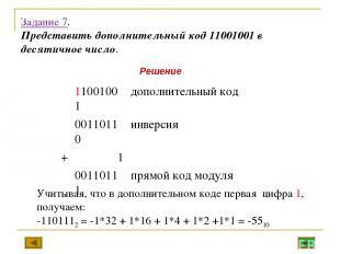 Задание 7. Представить дополнительный код 11001001 в десятичное число. Учитывая,