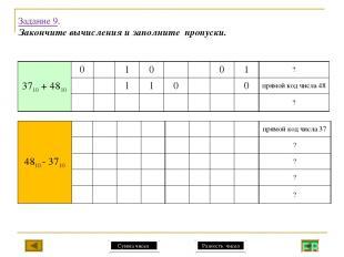 Задание 9. Закончите вычисления и заполните пропуски. Сумма чисел Разность чисел