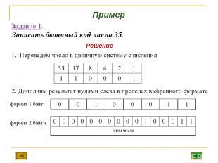 Задание 1. Записать двоичный код числа 35. Переведём число в двоичную систему сч