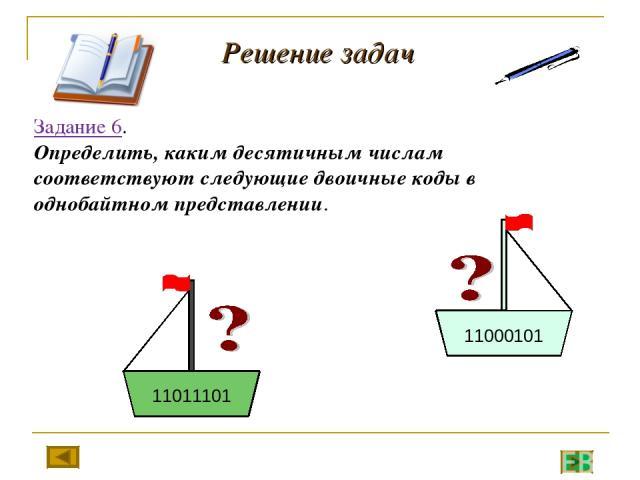 Решение задач Задание 6. Определить, каким десятичным числам соответствуют следующие двоичные коды в однобайтном представлении.