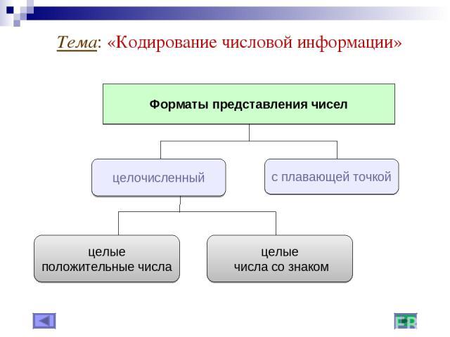 Тема: «Кодирование числовой информации»